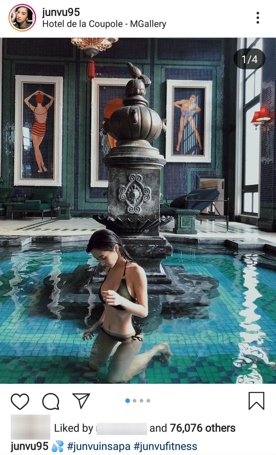 Hình ảnh Jun Vũ khoe trọn đường cong cơ thể trong bộ bikini hai mảnh được cô nàng tự hào đăng tải trên mạng xã hội