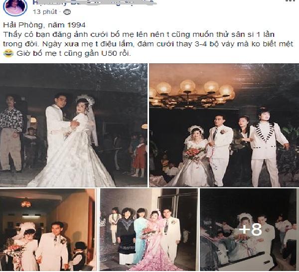 Khoe ảnh cưới bố mẹ thập niên 90: Cô dâu cực xinh, chú rể phong độ khiến dân mạng trầm trồ - Ảnh 1