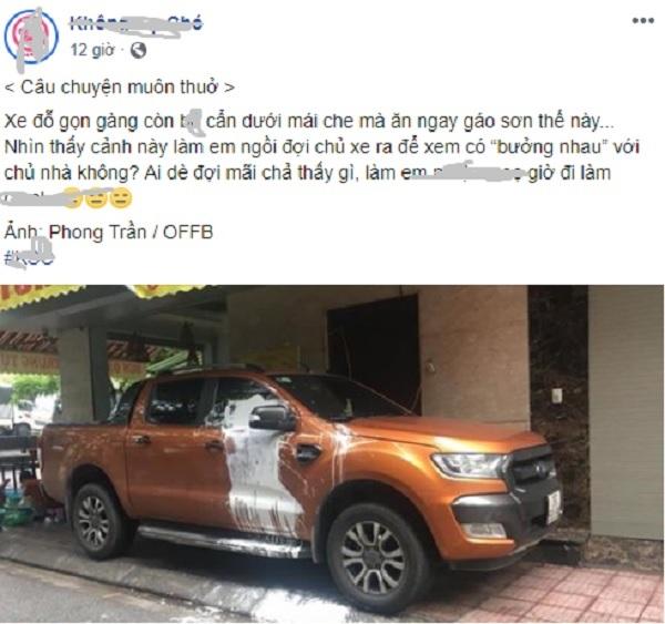 Xe bán tải bị tạt sơn trắng vì đỗ trước cửa nhà người khác khiến dân mạng tranh cãi - Ảnh 1