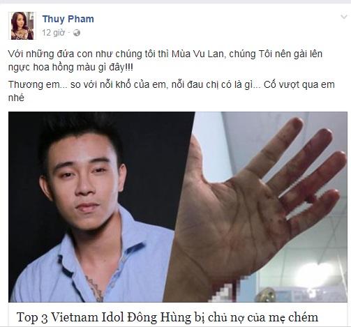 Vụ 'Đông Hùng - Top 3 Vietnam Idol 2014 bị chủ nợ chém vì mẹ ruột': Siêu mẫu Ngọc Thúy nói lời đồng cảm, buồn vì mùa Vu Lan đến không biết phải báo ân ai - Ảnh 1