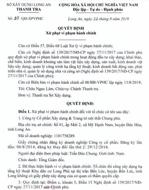 Dự án khu dân cư Long Phú tại Long An được hợp thức hóa sai phạm? - Ảnh 1