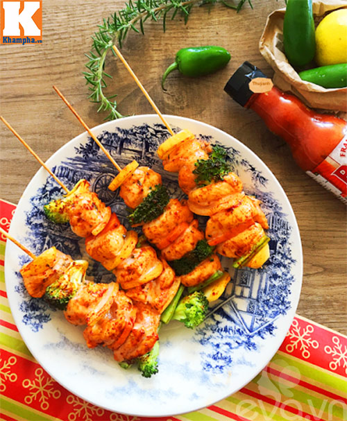 Thịt gà xiên nướng rau củ thơm lừng - Ảnh 3