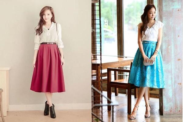 Xu hướng thời trang xuân hè dành cho người gầy với váy dài xòe