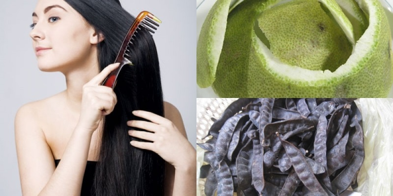 Vỏ bưởi kết hợp bồ kết nướng giúp có mái tóc đen chắc khỏe nhanh chóng
