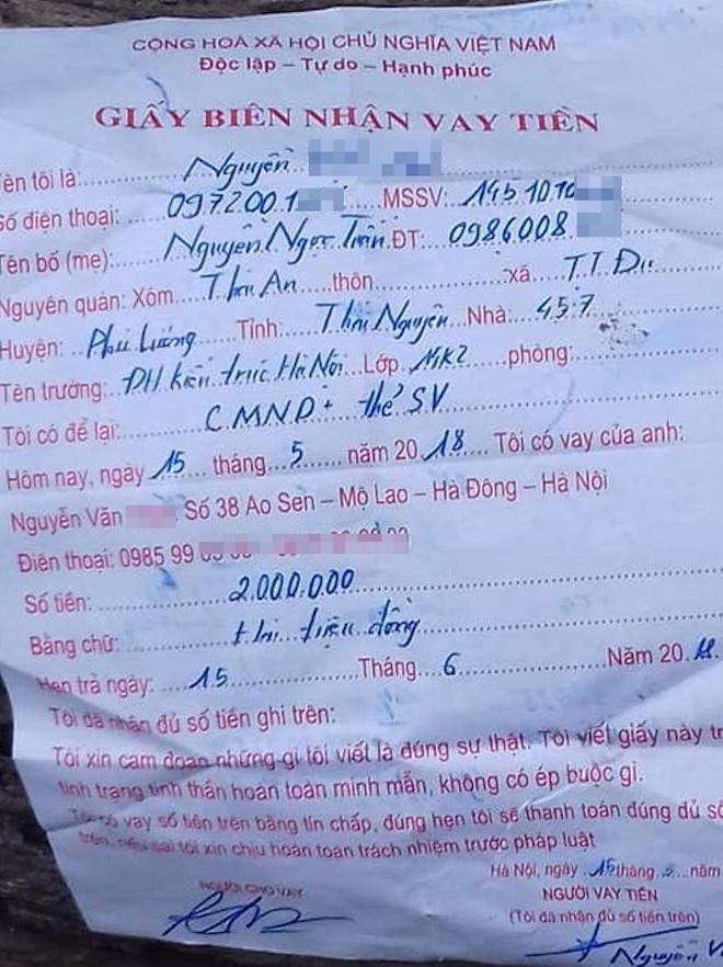 Nam sinh viên năm cuối được phát hiện treo cổ cùng giấy nợ 2 triệu đồng - Ảnh 2