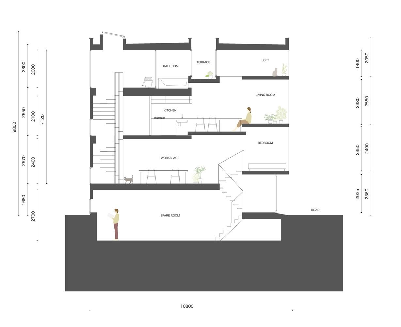 """""""Nhà 1,8m"""" với thiết kế thông thoáng ở Nhật Bản - Ảnh 10"""