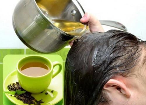 Dùng nước trà xanh gội đầu giúp kích mọc tóc hiệu quả