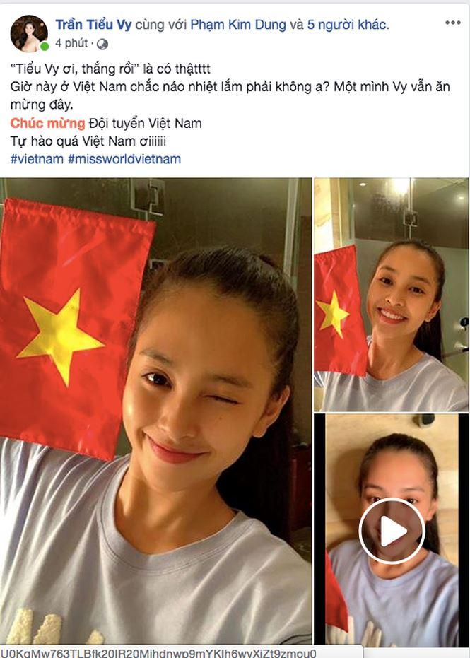 Tiểu Vy, H'Hen Nie đang thi nhan sắc quốc tế cũng rộn ràng mừng chiến thắng của ĐTVN - Ảnh 3