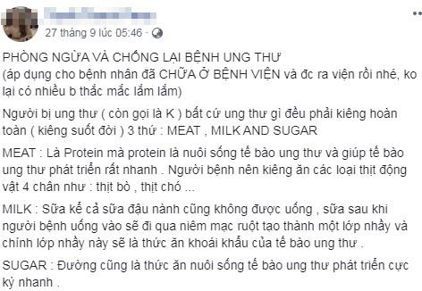 Benh nhan ung thu khong duoc uong sua