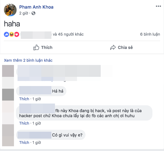 Tài khoản facebook Phạm Anh Khoa tái xuất, đăng trạng thái khó hiểu - Ảnh 2