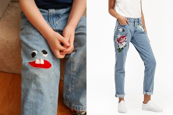 Vẽ hình rồi vá lên quần jean bị rách tạo phong cách cho bạn