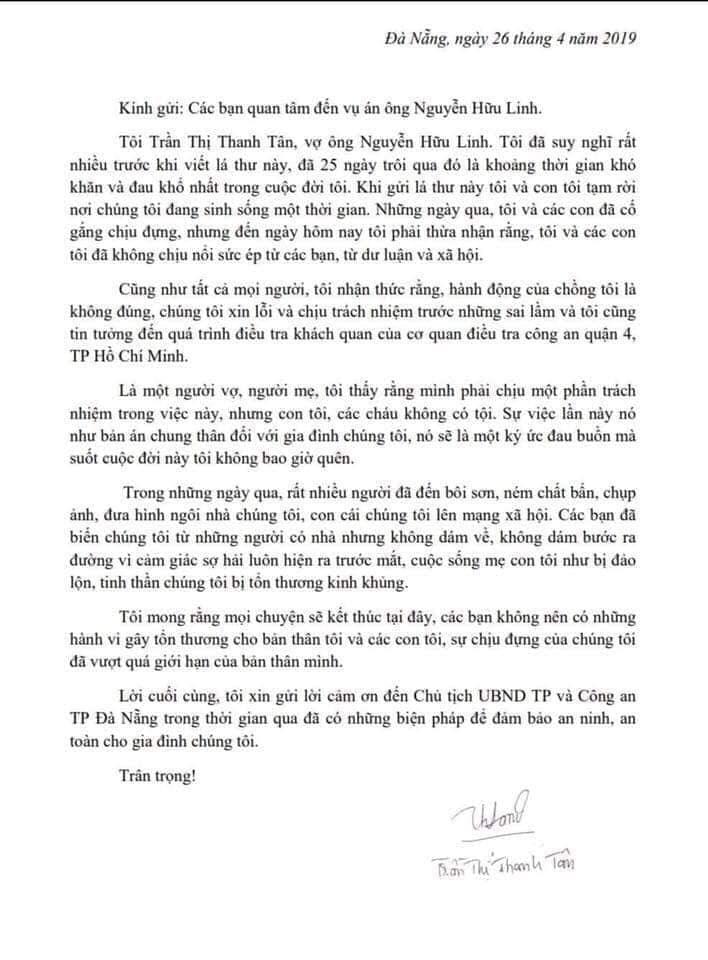 Cư dân mạng 'dậy sóng' trước bức tâm thư của vợ ông Nguyễn Hữu Linh  - Ảnh 1