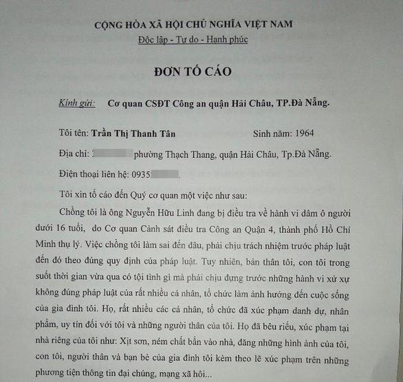Vợ ông Nguyễn Hữu Linh bất ngờ rút đơn tố cáo 'bị làm nhục' - Ảnh 1