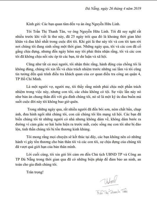 Tâm thư của vợ ông Nguyễn Hữu Linh: 'Sự việc lần này như bản án chung thân với gia đình chúng tôi' - Ảnh 1