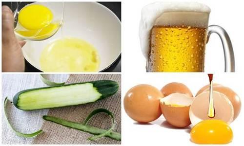 Nguyên liệu làm se khít lỗ chân lông bằng bia, trứng gà, dưa leo