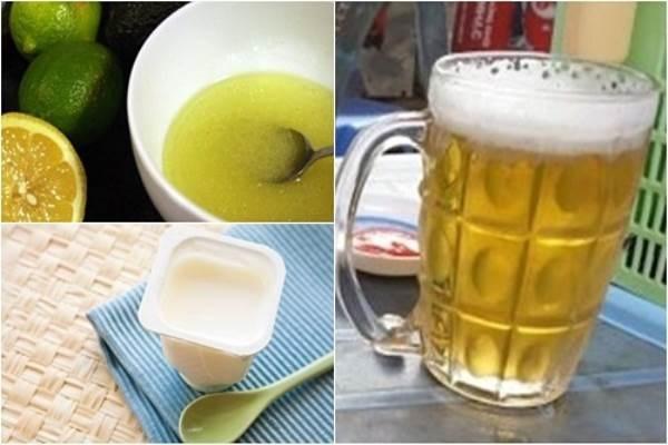 Nguyên liệu làm se khít lỗ chân lông bằng bia, sữa chua, nước cốt chanh