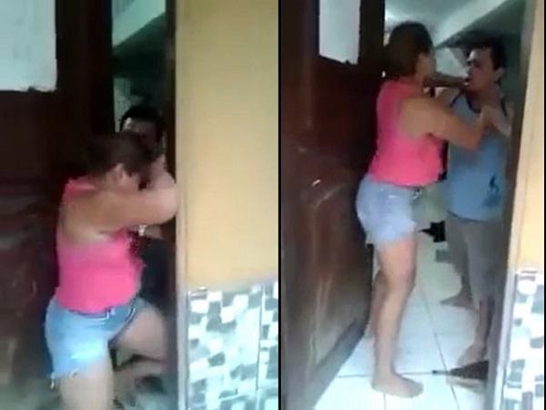 Xôn xao clip vợ cầm ô đánh chồng tới tấp vì ngoại tình với bà chủ - Ảnh 2