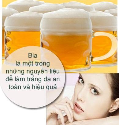 Tắm trắng bằng bia có hiệu quả tốt, da trắng hồng và mịn màng.