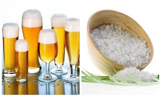 Cách tắm trắng bằng bia và muối hạt