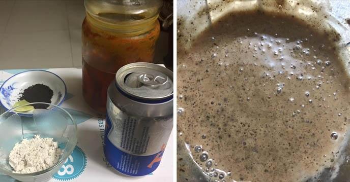 Trộn bia và bột đậu đỏ thành hỗn hợp đặc sệt.