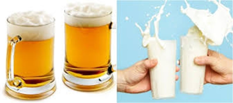 Bia và sữa tươi là 2 nguyên liệu giúp da trắng hồng rạng rỡ.