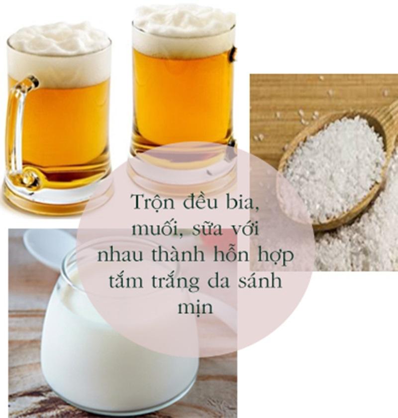 Hỗn hợp tắm trắng bằng bia và sữa tươi.