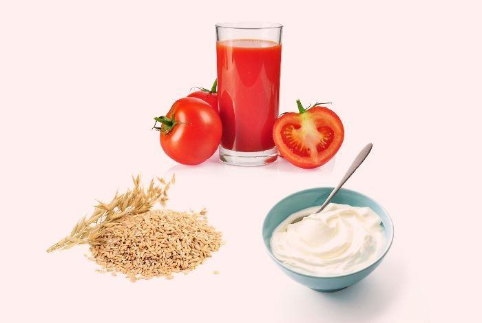 Tẩy tế bào chết bằng yến mạch và cà chua