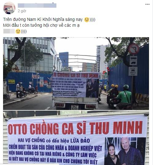 Ô tô treo banner tố chồng Thu Minh lừa đảo khắp đường phố Sài Gòn