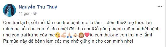 Ly hôn chồng, Thu Thủy một mình chăm sóc con trai bị ốm khiến fan vô cùng xót xa - Ảnh 1