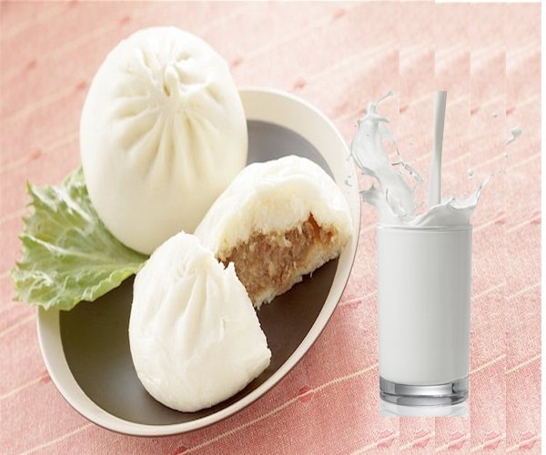 Bữa phụ nửa buổi chiều mẹ bầu có thể ăn 1 bánh bao nhân thịt và uống 1 ly sữa.