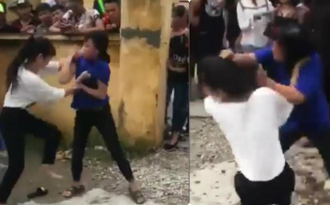 Phẫn nộ clip đám đông cổ vũ hai nữ sinh đánh nhau - Ảnh 1