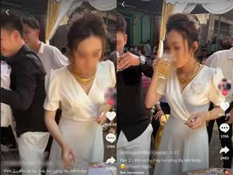 Chú rể tửu lượng kém, cô dâu xinh đẹp ra mặt uống cả lít bia để nhận tiền mừng cưới