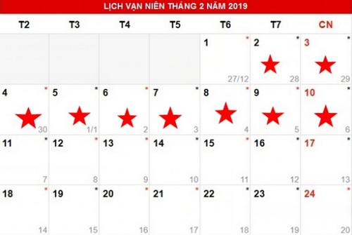 Lịch Tết âm lịch năm 2019