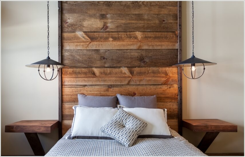 Thiết lập không gian căn phòng mộc mạc với đèn đơn giản.
