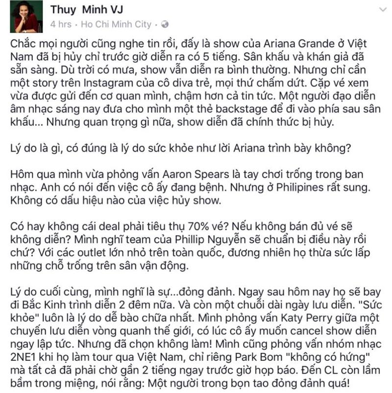 Không chỉ chê Ariana Grande đỏng đảnh mà còn móc mỉa 2NE1, MC Thùy Minh khiến fan tức giận  - Ảnh 1