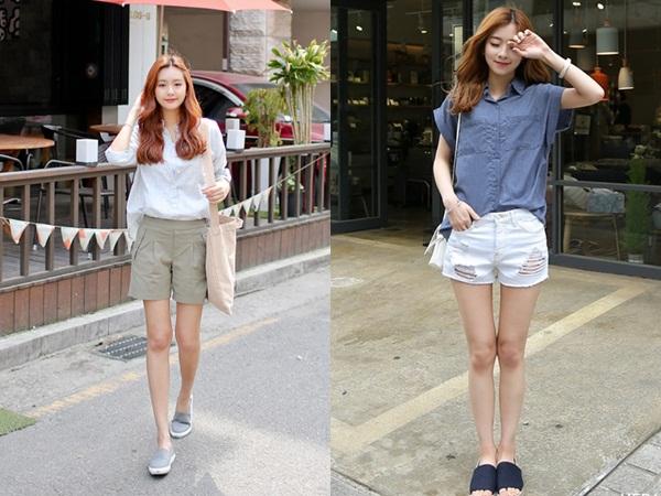 Khi kết hợp quần short và áo sơ mi, chị em sẽ có ngay set đồ thật trendy, đúng chất hè