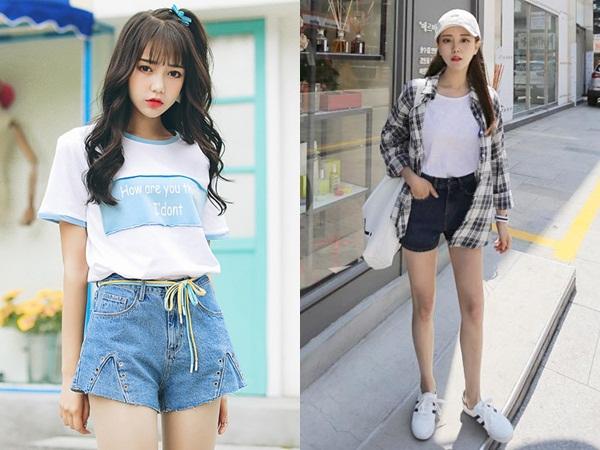 Vẻ ngoài của chị em có thể trẻ ra cả vài tuổi nếu diện lên mình cặp bài trùng quần shorts và áo phông