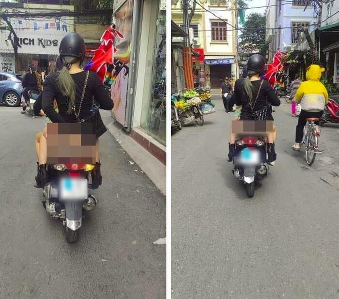 Xôn xao hình ảnh cô gái 'quên' mặc quần, vô tư ngồi sau xe máy dạo phố khiến người xung quanh nóng mắt - Ảnh 1