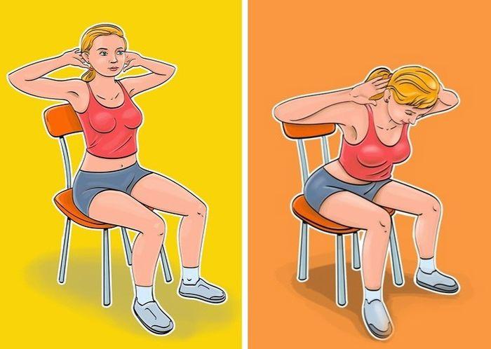 'Ngồi một chỗ' vẫn giúp mỡ bụng giảm 'ào ào' bằng 7 bài tập với ghế - Ảnh 4