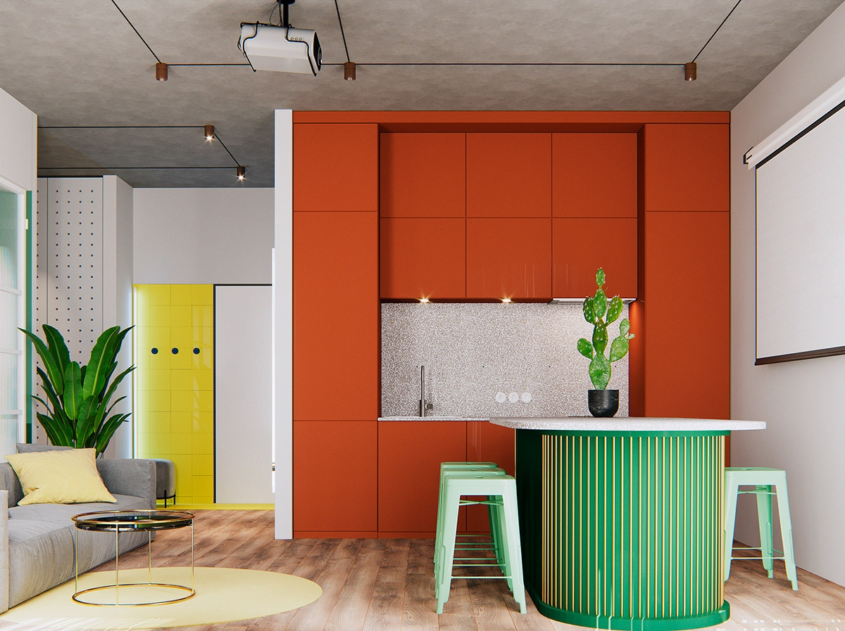 Tham khảo các thiết kế nhà bếp 'chơi trội' với màu 'nóng' - Ảnh 2