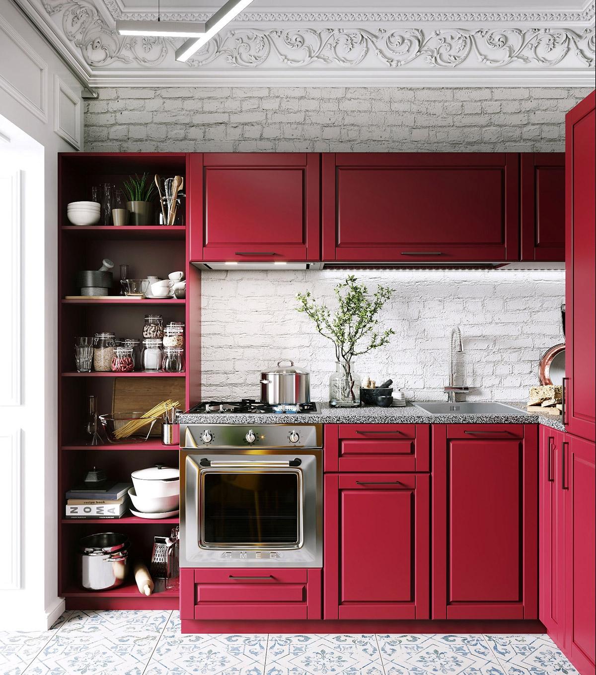 Tham khảo các thiết kế nhà bếp 'chơi trội' với màu 'nóng' - Ảnh 11