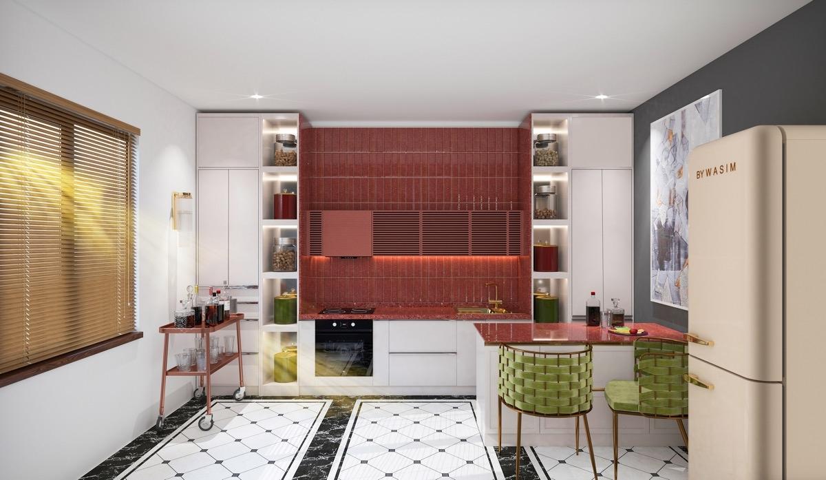 Tham khảo các thiết kế nhà bếp 'chơi trội' với màu 'nóng' - Ảnh 3