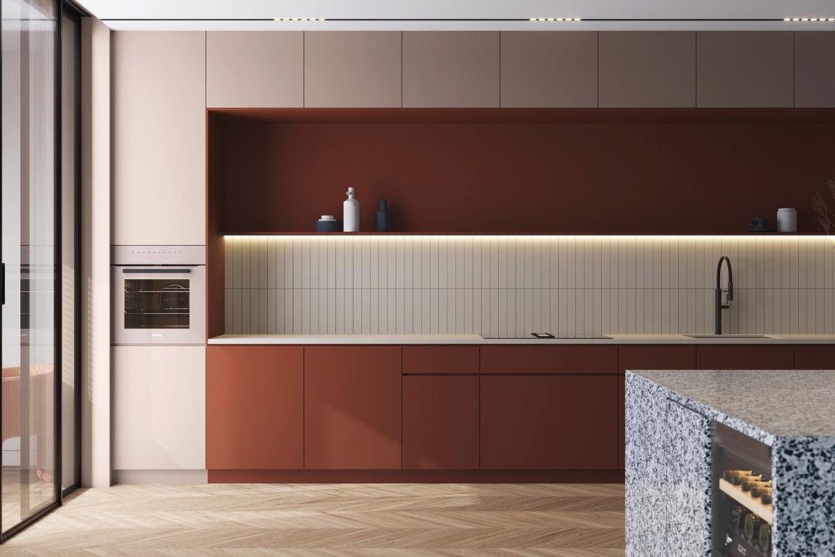 Tham khảo các thiết kế nhà bếp 'chơi trội' với màu 'nóng' - Ảnh 1
