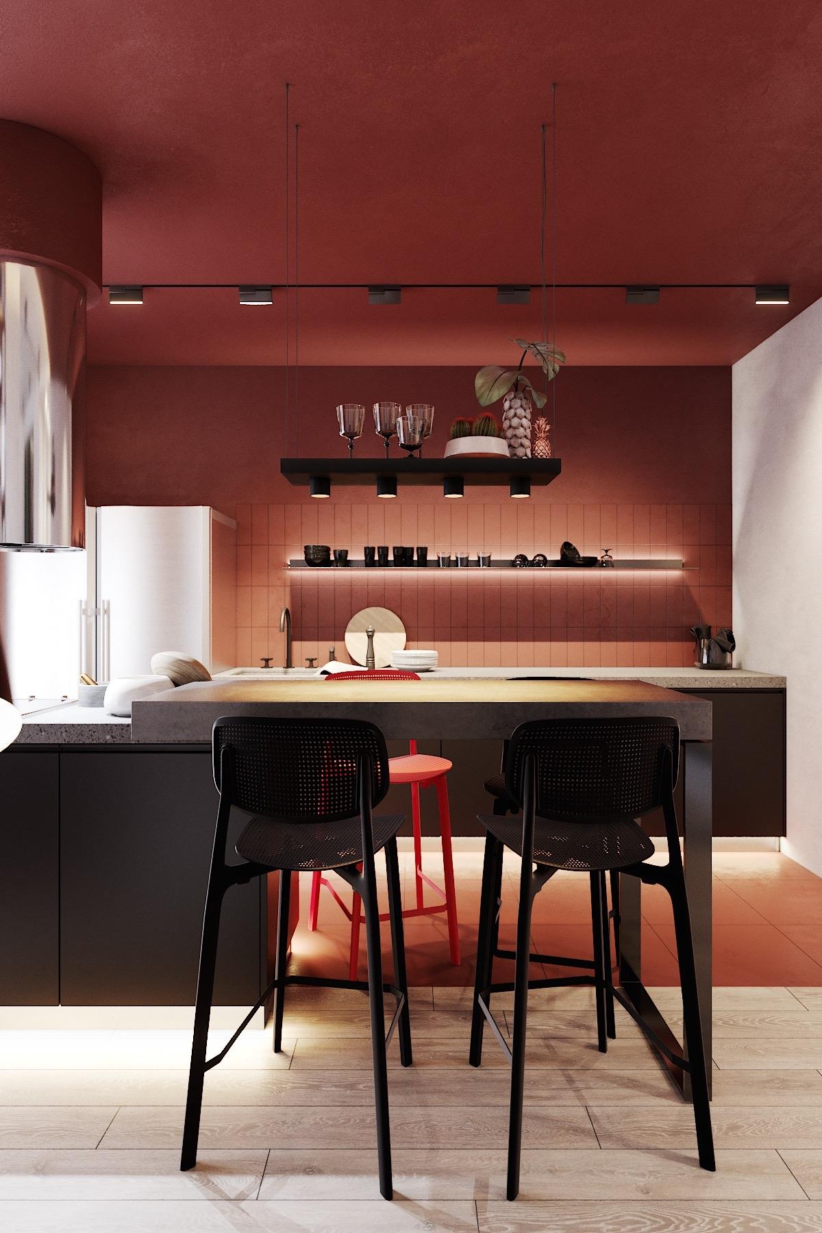 Tham khảo các thiết kế nhà bếp 'chơi trội' với màu 'nóng' - Ảnh 5