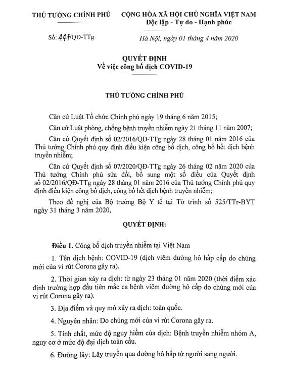 Thủ tướng công bố dịch COVID-19 trên toàn quốc - Ảnh 1