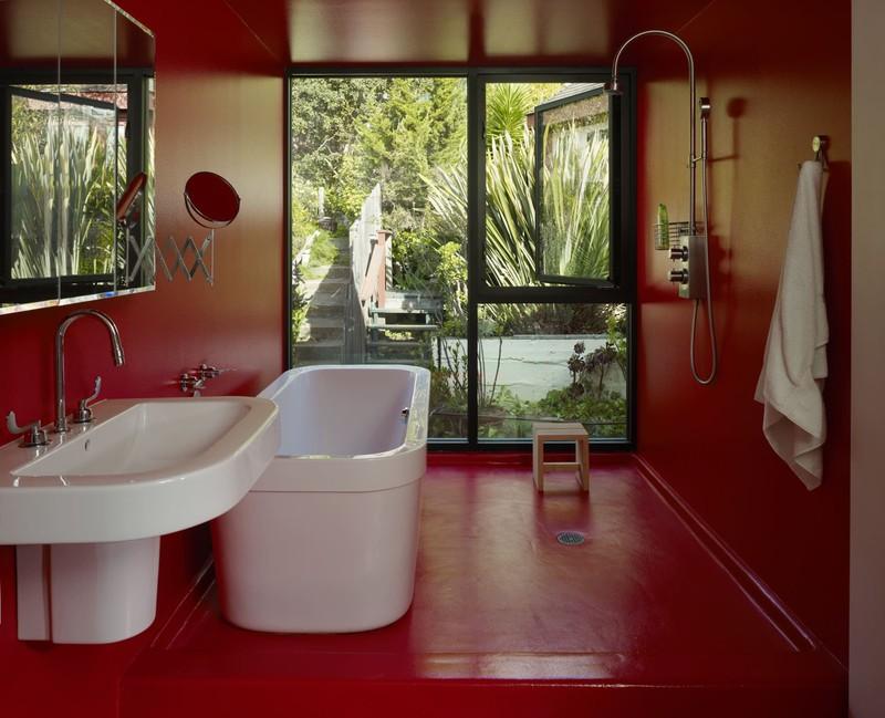 Ngạc nhiên trước những căn phòng tắm màu đỏ, nhìn một lần là nhớ - Ảnh 1