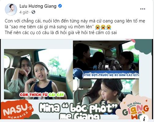 Con gái Lưu Hương Giang hồn nhiên khoe: 'Trên mặt mẹ có mồm giả và mũi giả' - Ảnh 2