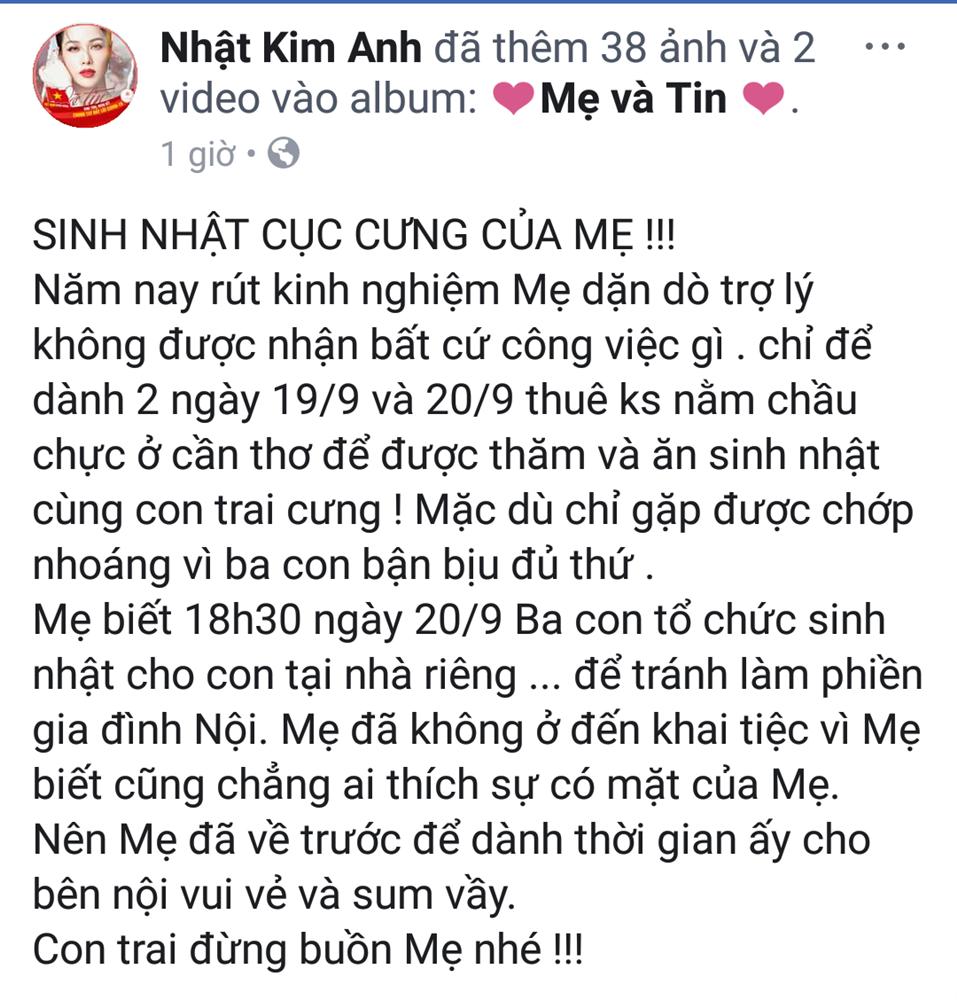 Nhật Kim Anh mừng sinh nhật con nhưng không quên 'đá đểu' chồng cũ - Ảnh 1