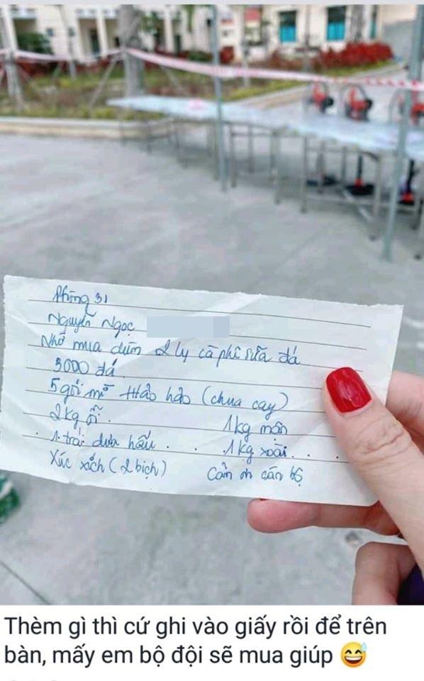 Viết giấy nhờ cán bộ mua dùm đồ ăn vặt vào khu cách ly, cô gái bị dân mạng 'ném đá' không tiếc tay - Ảnh 1