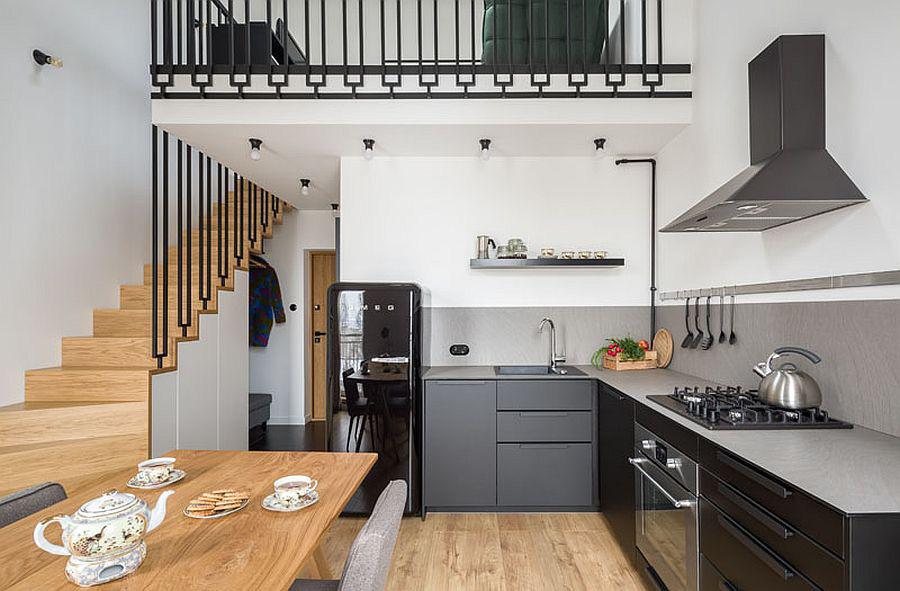 Căn hộ nhỏ xíu cực xinh xắn với tầng lửng màu đen và trắng ấn tượng - Ảnh 4